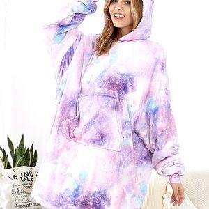 Tiedye oversized fleece hoodie lounge dress M L XL